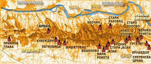 fruska gora mapa Fruskogorski Manastiri fruska gora mapa